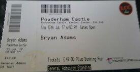 2x Bryan Adams Tickets Powderham Castle 13th July