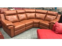 La Z Boy brown leather recliner corner sofa