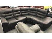 DFS open end leather corner sofa