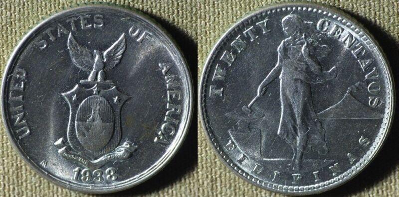 Philippines : 1938M  20 Ct Gem BU  #182  IR5059