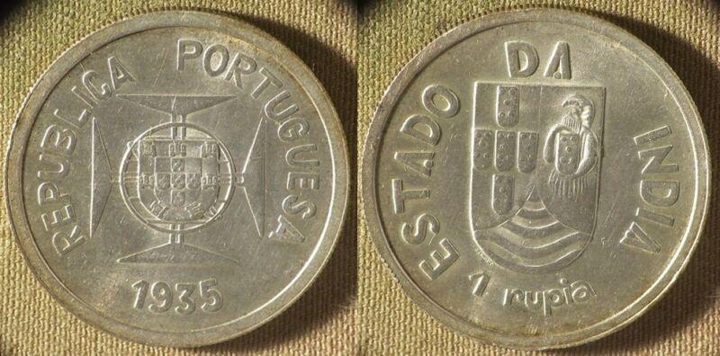 India Portuguese : 1935 1 Rupee  CH.UNC  #22   IR8641