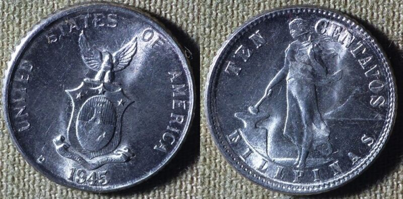 Philippines : 1945D 10 Ct Gem BU  # 181  IR5051