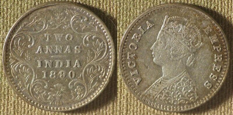 India British Rule : 1890B 2 Anna XF-  #488   IR8640