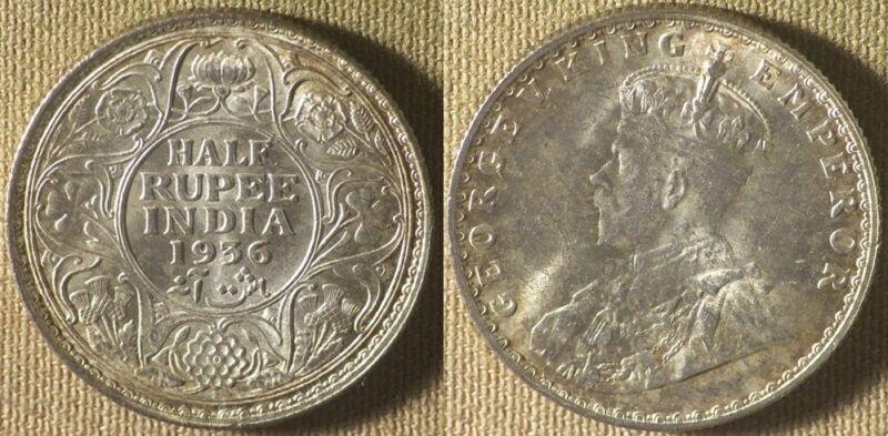 India : British 1936(b) 1/2 Rupee   BU  #522    IR8318