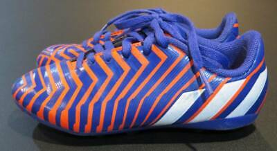 Adidas Boys Predito Purple Orange Soccer Cleats Youth Size 1 Good Pre-Owned Cond