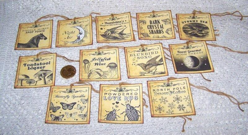 12~Halloween~Fantasy~Magic~Potion~Labels~Witch~Linen Cardstock~Gift~Hang~Tags