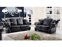 BRAND NEW DIANNA LEATHER ITALIAN CHESTERFIELD SOFA IN BLACK + DELIVERY