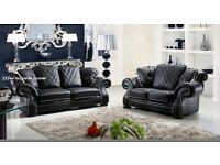 NEW BLACK ITALIAN DESIGN LEATHER 3+2 SOFA NOW only £499