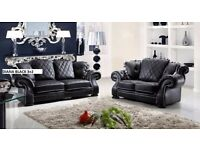 BRAND NEW WINGBACK CHESTERFIELD DESIGN LEATHER DIANA 3+2 SOFA IN BLACK - FREE DELIVERY
