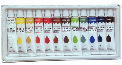 12 PC ACRYLIC PAINT SET Professional Artist Paints Painting Pigment 12ml Tubes