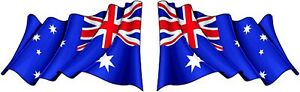 1 Pair 25 x 40mm Australian Flag Printed Marine Grade Stickers, Australian Made