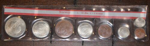 Norway 1969 Gem Unc 7 Coin Mint Set~RARE 3,140 Minted~Free Shipping