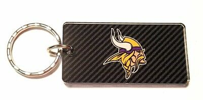 Viking Logo Ring - Minnesota Vikings Acrylic Keychain NFL Team Color Logo Carbon Printed Key Ring