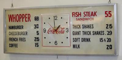 Original C 1960 Burger King   Carrols Coca Cola Clock Menu Sign Works    Lot 100