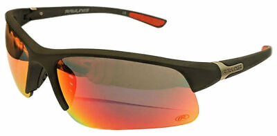 Rawlings 12 Mens Athletic Sunglasses Half-Rim Black/Red Mirrored Lens 10203051 ()