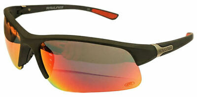 Rawlings 12 Mens Athletic Sunglasses Half-Rim Black/Red Mirrored Lens (Red Rimmed Sunglasses)