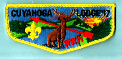 OA Lodge CUYAHOGA 17-S,yel bdr  fdl Greater Cleveland Council Boy Scout flap OH