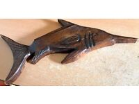 RARE AFRICAN CARVED WOODEN VINTAGE WALL ART FISH