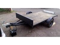TRAILER flatbed, suit quad bike motorbike or lawn tractor ride-on mower, 750kg