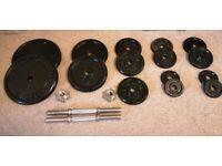 45kg - Cast Iron Weights + Dumbbell Set (standard 1 inch)