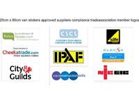 20cm x 90cm VAN STICKERS approved suppliers compliance trade association member logos
