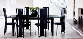 ***LUXURY BLACK EXTENDABLE DINING TABLE STILL IN BOX!!! (SEATS 4, BUT CAN SEAT 6 IF EXTENDED) ***