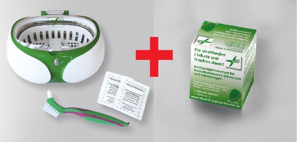 Dental Ultraschall Reinigungsgerät Dritte Zähne, Spangen + Reinigungskonzentrat