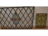 2 x Antique Stained Glass Leaded Windows Diamond Old Salvage Vintage