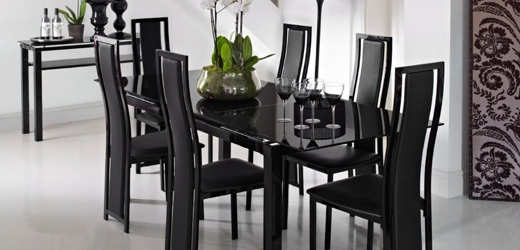 Modern Black Gl Noir Extending Dining Table 4 Matching Chairs From Harveys