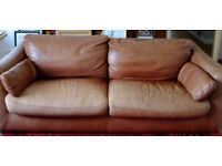 Two Incanto Italian leather 3 seater sofas in dark walnut used