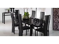 Noir Modern Black Glass Extendable Dining Table Set with 6 Elegant Chairs