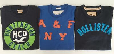 Nice Lot of 2 Hollister & 1 Abercrombie Mens Short Sleeve T- Shirt Size L