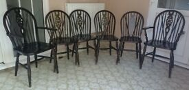 6 Vintage Solid Dark Wood, Oak, Windsor Wheel Back Dining Chairs / Wooden Kitchen Chairs
