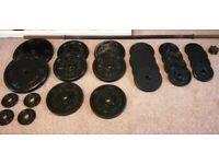 75 kg - Cast Iron Weights + barbell set (standard 1 inch)