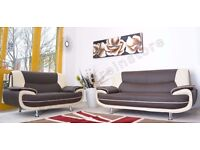 PAYMENT ON DELIVERY **** CAROL 3+2 SEATER LEATHER SOFA - IN BLACK RED WHITE AND BROWN COLOR