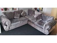 Slate Grey Crushed Velvet Corner Sofa