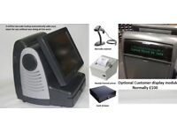 Fast epos, printer, cash drawer, barcode scanner, with customer display included complete setup