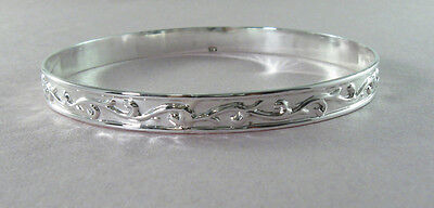 925 sterling silver large bangle with leafy design 2 7/8