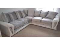SHANNON CORNER OR 3+2 SEATER WHITE/SILVER CRUSHED VELVET SOFA | EXPRESS  DELIVERY