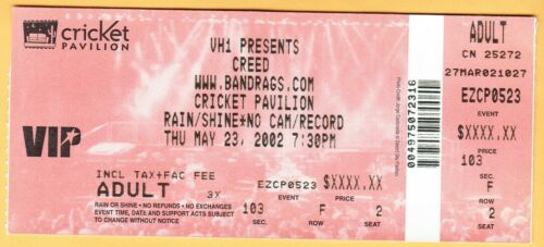 2002 CREED concert ticket Cricket Pavilion PHOENIX ARIZONA Scott Stapp