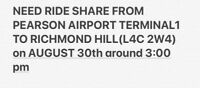 Need ride share from AIRPORT TO RICHMONDHILL