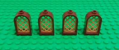 New  Lego 1X2x2 Brown Gold Grill Arches Windows Arch Brick Castles   4 Pieces