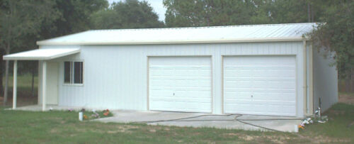 Steel Metal  2-Car Garage with Shop Area, Building Kit 864 sq