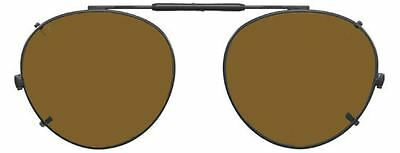 Visionaries Polarized Clip on Sunglasses - Round - Gold Frame - 50 x 45 Eye