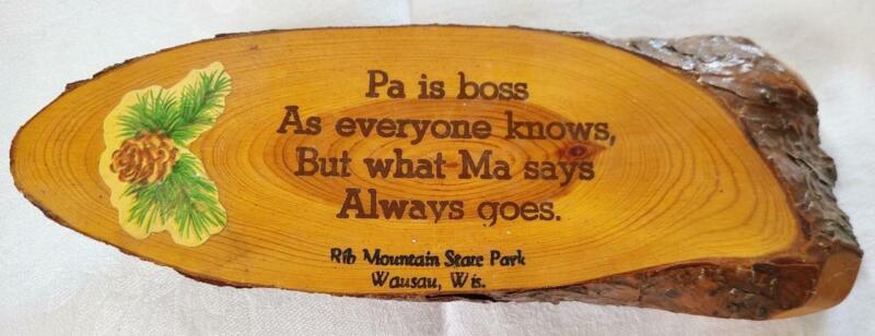 Vintage Rib Mountain Wausau Wisconsin Wood Slice Wall Plaque Pa Ma Decoupage