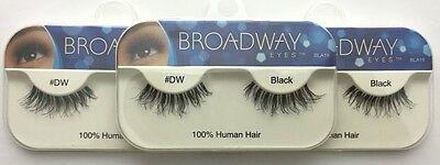 NEW LOT OF 3 BROADWAY EYES BLA19 100% HUMAN HAIR BLACK STRIP #DW EYELASHES