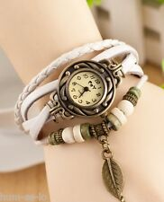 VINTAGE RETRO BEADED BRACELET LEATHER WOMEN WRIST WATCH - LEAF WHITE