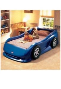 Little Tikes Sports Car Twin Bed (Blue) with mattress