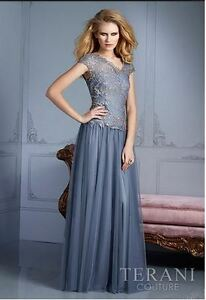 Silver/Grey Terani Evening Gown / Prom Dress