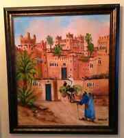 Moroccan water painting with custom frame